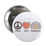 Peace Love Heart Beethoven Button Music Pin