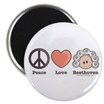 Peace Love Heart Beethoven Music Magnet (10 pack)