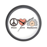 Peace Love Heart Beethoven Music Wall Clock