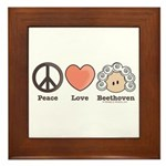 Peace Love Heart Beethoven Music Framed Tile