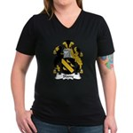 Slany Family Crest Women's V-Neck Dark T-Shirt