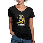 Skinner Family Crest Women's V-Neck Dark T-Shirt