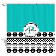 Black & Teal Tribal Shower Curtain