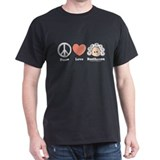 Peace Love Heart Beethoven T-Shirt Black