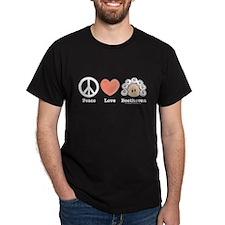 Peace Love Heart Beethoven T-Shirt Black