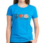 Peace Love Heart Beethoven T-Shirt Bright Blue
