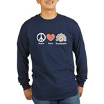 Peace Love Beethoven Long Sleeve Dk Blue T-Shirt