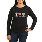 Peace Love Beethoven Long Sleeve Black T-Shirt