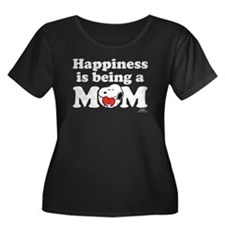 Happines Women's Plus Size Scoop Neck Dark T-Shirt