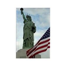 Statue of Liberty with Flag Rectangle Magnet