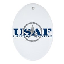 I Support My Niece - Air Force Oval Ornament