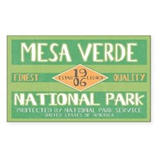 Mesa Verde National Park (Retro) Sticker (Rectangu