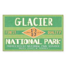 Glacier National Park (Retro) Sticker (Rectangular