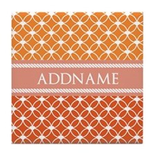 Personalized Orange Ringed Stars Patt Tile Coaster