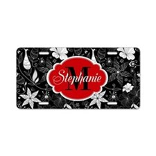 Floral Monogram Custom Aluminum License Plate