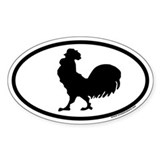Rooster Oval Car Decal
