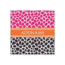"Personalized Pink Orange Gi Square Sticker 3"" x 3"""
