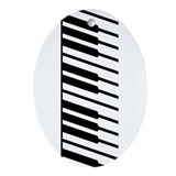 Black Piano Keys Oval Ornament