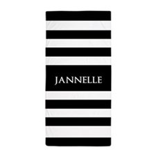Personalized Black and White Stripes Beach Towel
