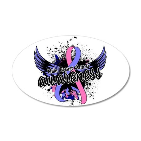 Male Breast Cancer Awareness 20x12 Oval Wall Decal