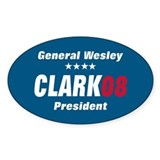 WESLEY CLARK PRESIDENT 08 Oval Decal