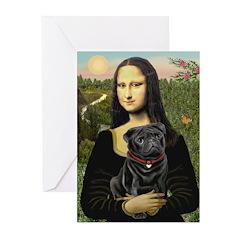 Mona's Black Pug Greeting Cards (Pk of 20)