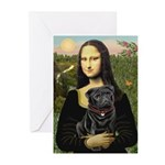 Mona's Black Pug Greeting Cards (Pk of 10)