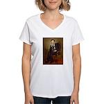 Lincoln-Black Pug Women's V-Neck T-Shirt