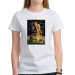 Fairies & Black Pug Women's T-Shirt