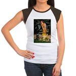 Fairies & Black Pug Women's Cap Sleeve T-Shirt