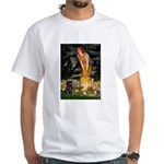 Fairies & Black Pug White T-Shirt