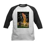 Fairies & Black Pug Kids Baseball Jersey