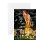 Fairies & Black Pug Greeting Cards (Pk of 10)
