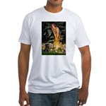 Fairies & Black Pug Fitted T-Shirt