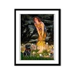 Fairies & Black Pug Framed Panel Print