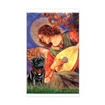 Mandolin Angel / Black Pug Sticker (Rectangle)