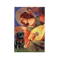 Mandolin Angel / Black Pug Rectangle Magnet