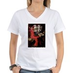 Lady / Black Pug Women's V-Neck T-Shirt