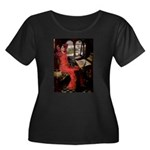 Lady / Black Pug Women's Plus Size Scoop Neck Dark