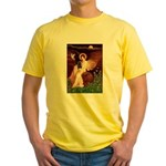 Winged Figure / Black Pug Yellow T-Shirt