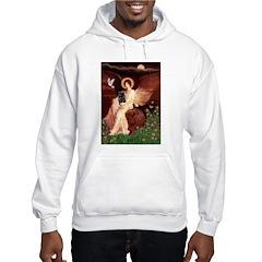 Winged Figure / Black Pug Hooded Sweatshirt