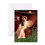 Winged Figure / Black Pug Greeting Card