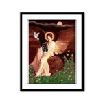 Winged Figure / Black Pug Framed Panel Print