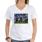 Starry Night / Black Pug Women's V-Neck T-Shirt