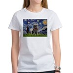 Starry Night / Black Pug Women's T-Shirt