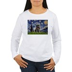 Starry Night / Black Pug Women's Long Sleeve T-Shi