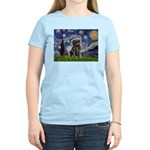 Starry Night / Black Pug Women's Light T-Shirt