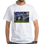 Starry Night / Black Pug White T-Shirt