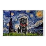 Starry Night / Black Pug Sticker (Rectangle)