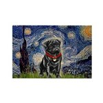 Starry Night / Black Pug Rectangle Magnet (10 pack